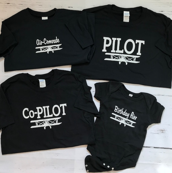 AIRPLANE PILOT, Co-Pilot and Family T-shirts, Family matching shirts