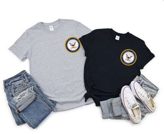 NAVY Proud United States Military Service, Navy emblem, left chest T-shirts