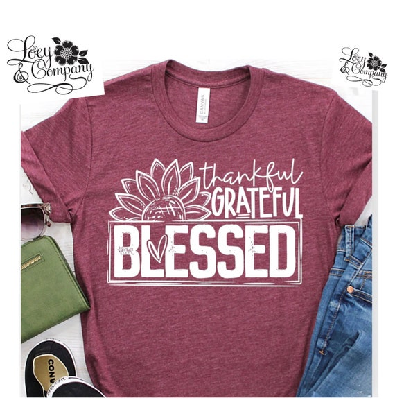 Thankful, GRATEFUL, BLESSED, Fall, holiday T-shirt