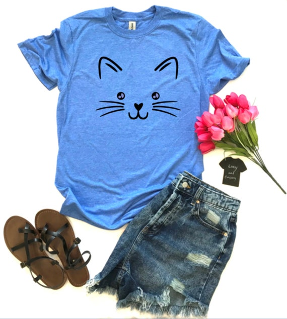 WHISKERS, KITTY Face, cat, animal lover, kitten t-shirt