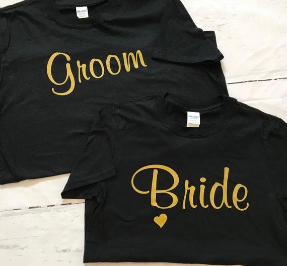 Bride & Groom Wedding GOLD INK T-shirts