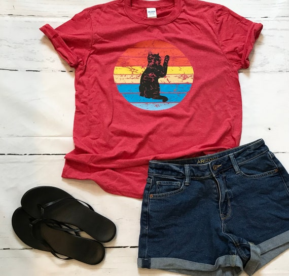 Retro Kitty (black cat) t-shirt. Fun, adorable, for the Cat Lover in you!