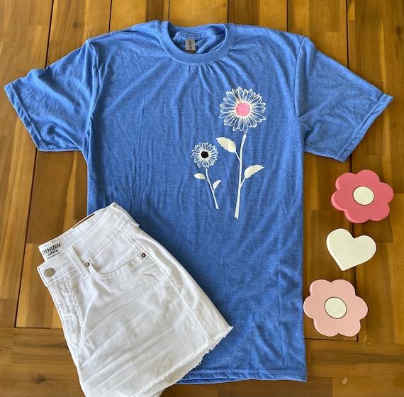 Pink/black DAISY / SUNFLOWER Tee -  Floral FLOWER T-shirt
