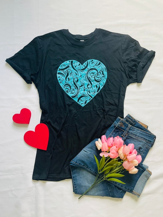 Love, large TURQUOISE HEART,  Fun T-shirts