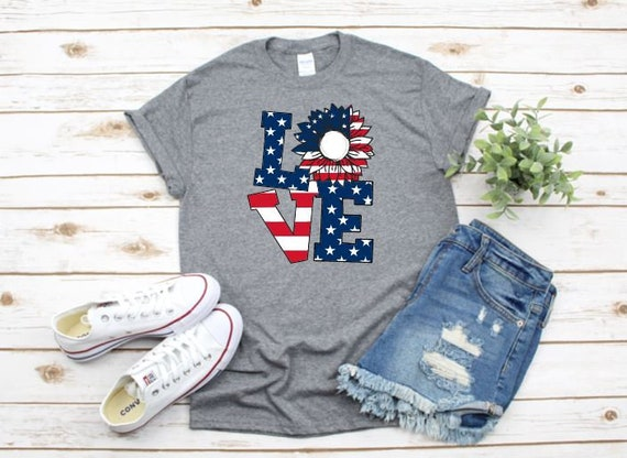 Love Sunflower DAISY Flag T, America Patriotic Flag, Fourth of July, Red White Blue, Independence Day T-shirt