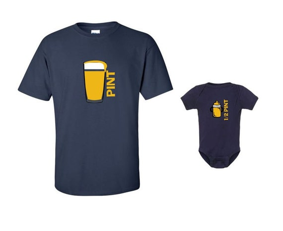 PINT & Half Pint Men's/Womens DAD Beer T-shirt and Infant Bodysuit - Matching Family Shirts