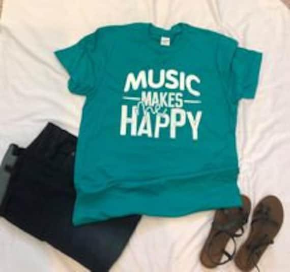 MUSIC makes me HAPPY, fun, musical, whimsical T-shirt