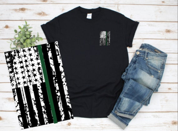 Proud Army GREEN LINE, United States Flag, Family T-shirts