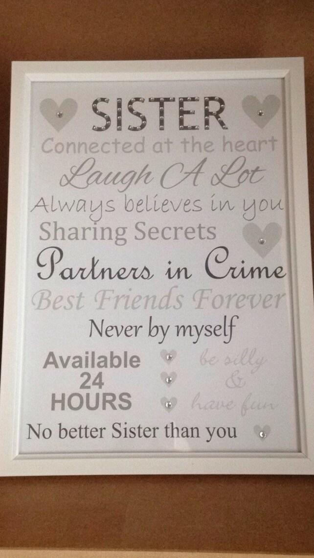 sister frame sister birthday present sister gifts sister etsy