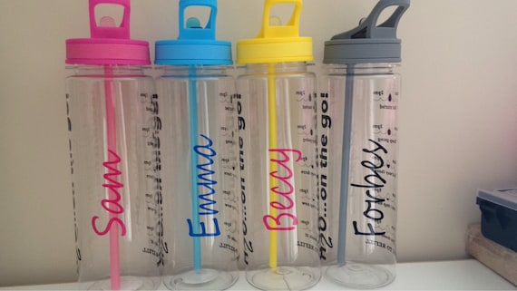 e16632a0c5 Personalised motivational water bottle tracker with times | Etsy