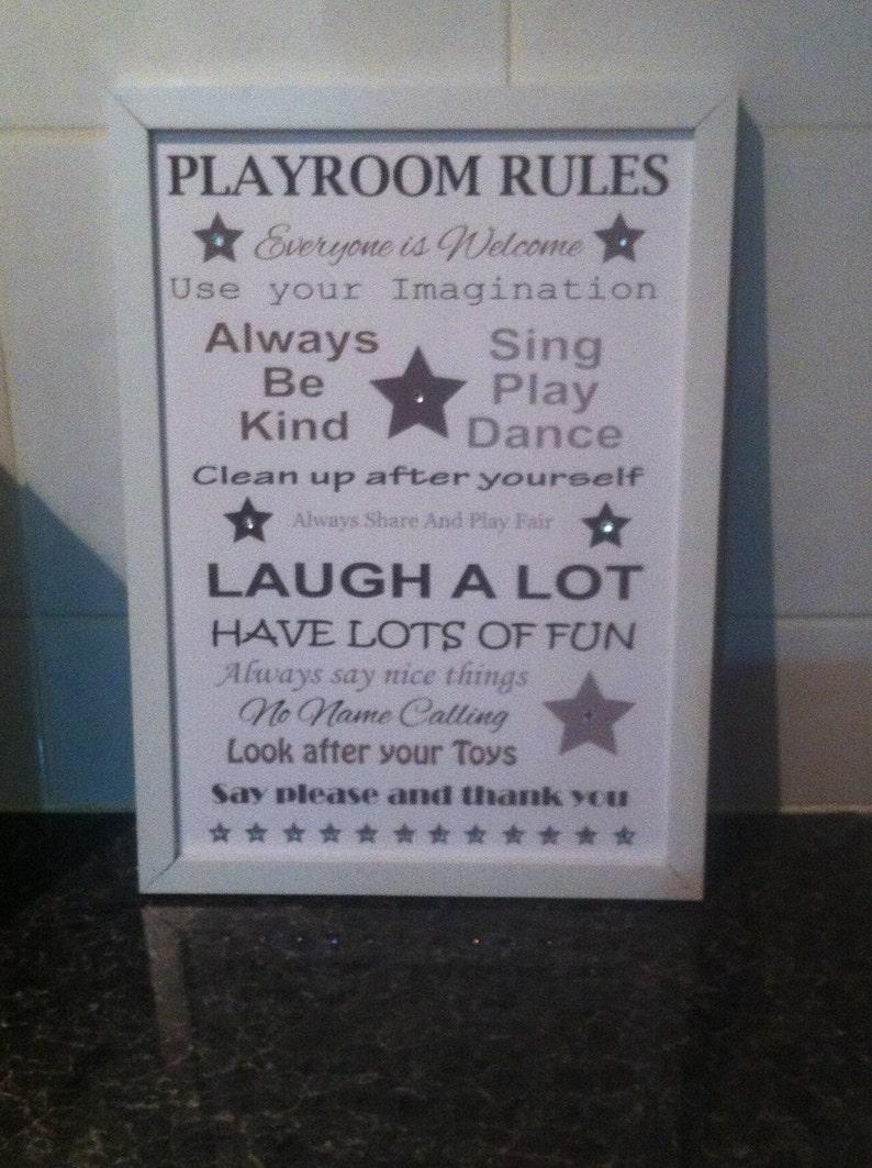 fb4168e52107 Playroom rules playroom decoration toy room frames