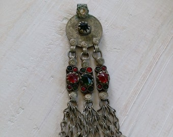 """Vintage Tribal Coin Pendant 4.5"""" DIY Jewelry Supplies (#6211)"""