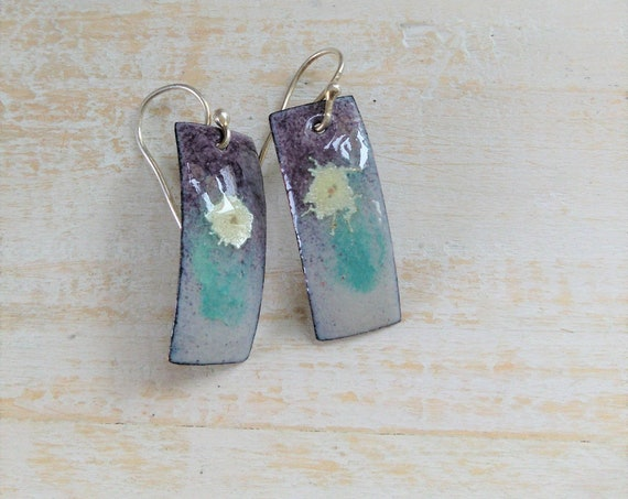 Flower Impression Enamel Earrings Silver .925 Petals Artisan Jewelry (#6802)