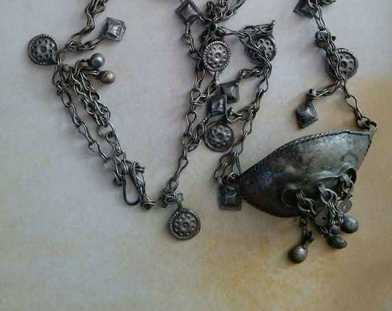 "Vintage Afghan Nomad's Beggar's Cup Necklace on Lovely 25"" Chain (#7338)"