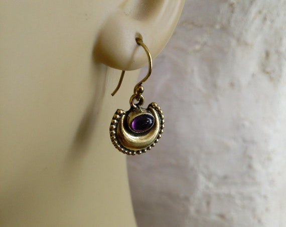 Crescent Moon Golden Brass Earrings with Amethyst (#7052)