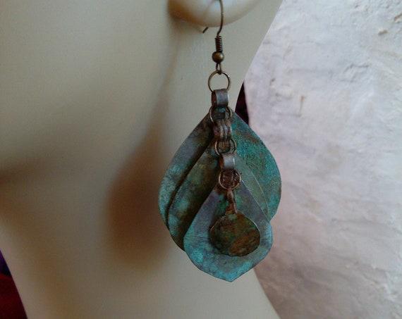 Rustic Patina Handmade Earrings Vintage Layered Pendants (#7055)