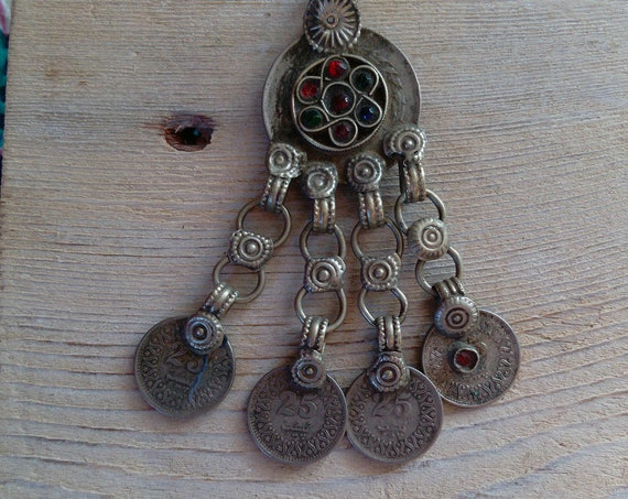 Kuchi Jewelry Tribal Pendant Coin Dangles Fusion ATS FCBD Costuming Accent (#7313)