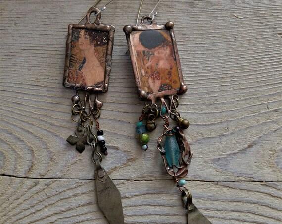 The Kiss Klimt Artisan Earrings .935 Argentium Ear Wire Eclectic Jewelry (#7370)