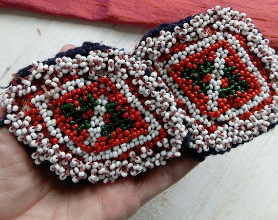 Beaded Kuchi Patches Tribal Appliques Pair Evil Eye Talisman (#6298)