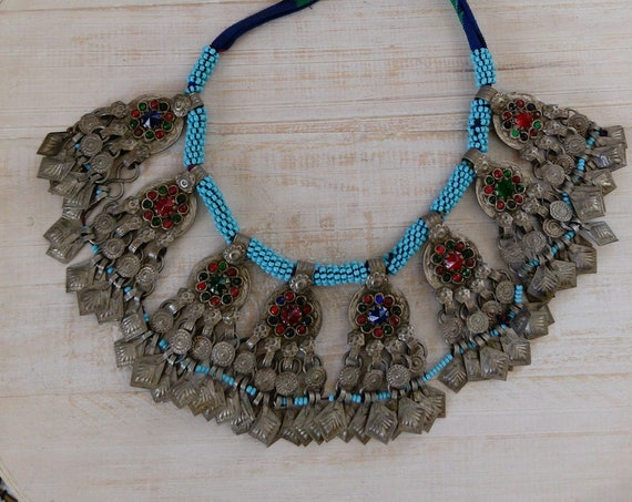 Vintage Tribal Necklace with Coin Pendants and Chamsa Accents (#7418)