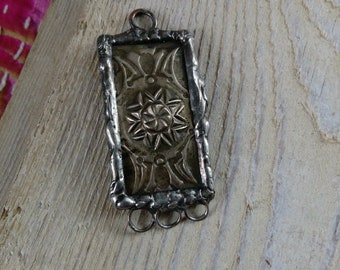 Rustic Artisan Pendant Component Alchemy Upcycled Tribal Finding for DIY (#7216)