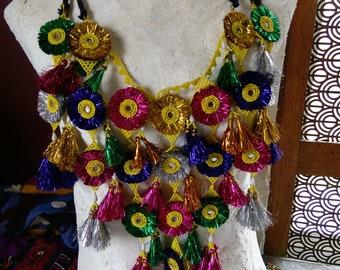 Colorful Shisha Mirror Necklace Body Drape Sparkly Fringe Kuchi Tribal Adornment (#7200)