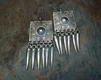 Turkish Boho Earrings Stylized Pattern Fringe-Like Dangles (#6726)