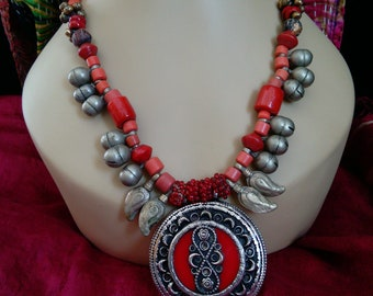 Inner Fire Necklace Tribal Components Vibrant Reds