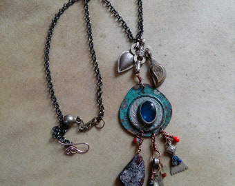 """Rustic Blue Patina Copper Embellished Tribal Coin Necklace 19"""""""