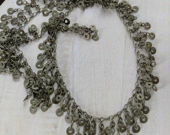 """Two-Row Vintage Kuchi Tribal Jewelry Chain 45"""" x 1.75"""" (#6889)"""