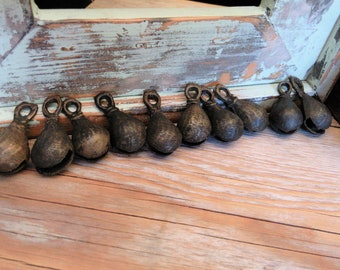 Vintage Brass Bells Small Findings from Punjab Pakistan Unique 10 Pieces