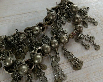Vintage Turkoman Buttons with Dangles 25x on String (#7214)