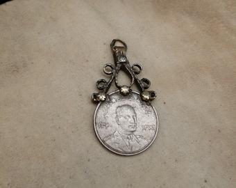 Vintage Hazara Coin Pendant with a Unique Bail 2.25 DIY