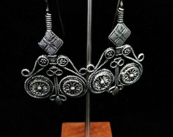 "Bohemian Tribal Earrings 2.4"" Traditional Afghan Motifs"