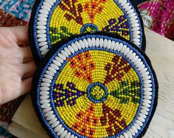 "4.75"" Pair Beaded Kochi Tribal Gul Patches Medallions (#7116)"