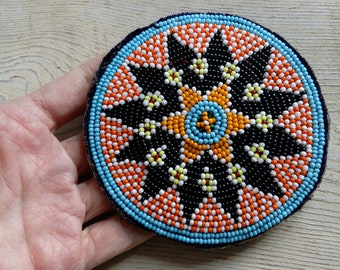 "Tribal Gul Beaded Round Medallion Patch Black Orange White Blue 3.75"" (#7122)"