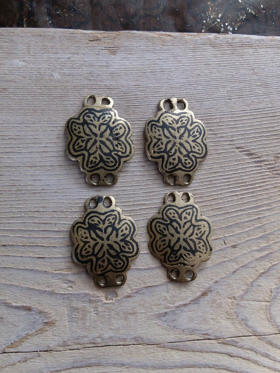 4x Vintage Hazara Niello Components for DIY Ethnic Arts Jewelry (#7358)