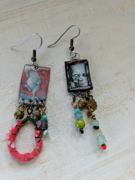 Torch Fired Frog and Skull Quirky Earrings OOAK Jewelry