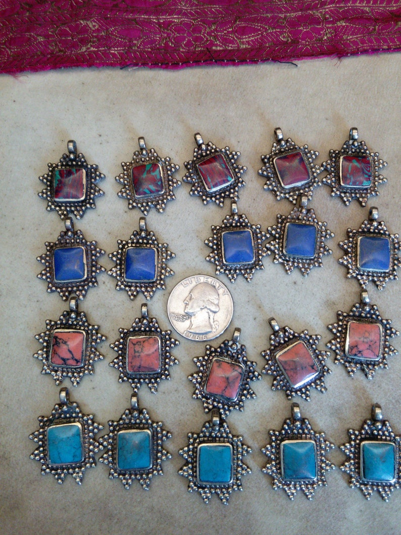 #13 Tribal Pendants Charms Mixed Colors 20 Pieces