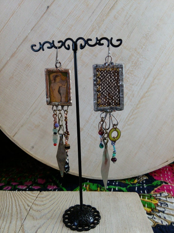 Assuit and Indian Miniature Artisan Earrings .935 AG Ear Wire Eclectic Jewelry (#7372)