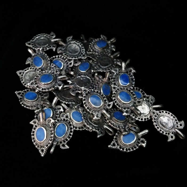 5 Ethnic Tribal Bird Pendants Brass and DARK BLUE 1.38