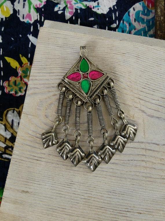 "Kashmiri Tribal Jewelry Pendant Hamsa Dangles 3.5"" (#7254)"