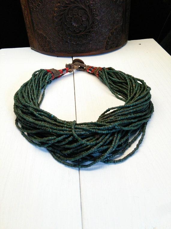 Old Naga Necklace Unusual Teal Blue Color 42-Strand