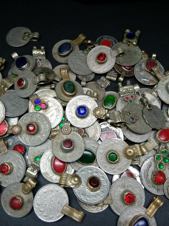 1/2 Pound Bulk Vintage Tribal Jewelry Coins with Jewels Mixed Lot