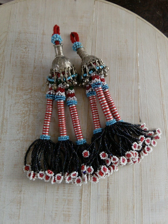 """7.5"""" Vintage Beaded Baluch Tribal Tassels Ethnic Crafts Fusion ATS Belly Dance Boho Home Decor (#7432)"""