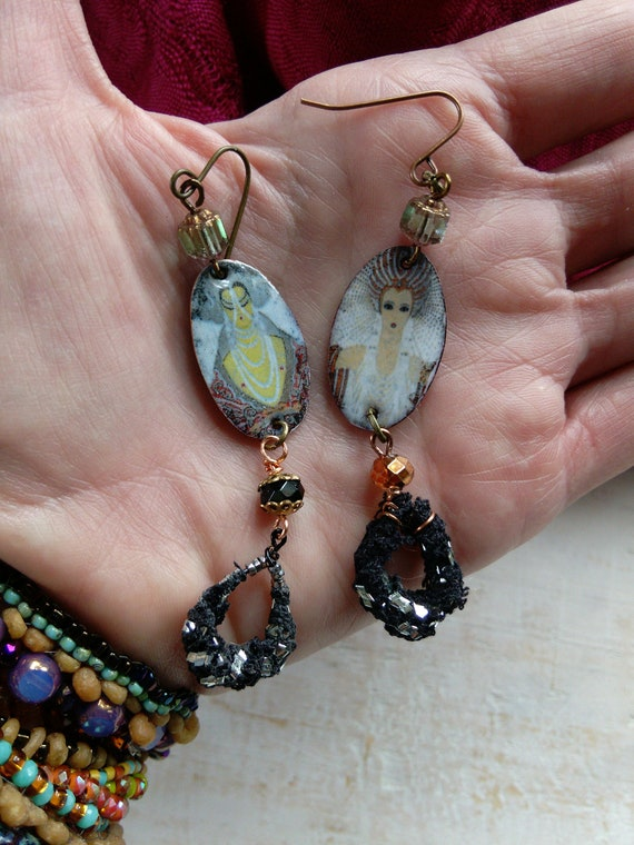 Torch Fired Art Nouveau Assuit Earrings Sparkly Jewelry
