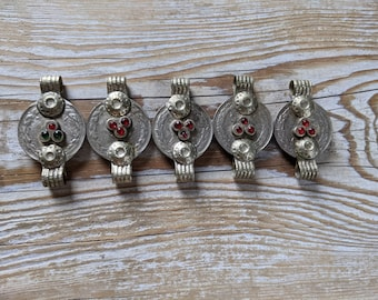 5x Coin Connectors DIY Tribal Jewelry Supply Red Green (#9179)