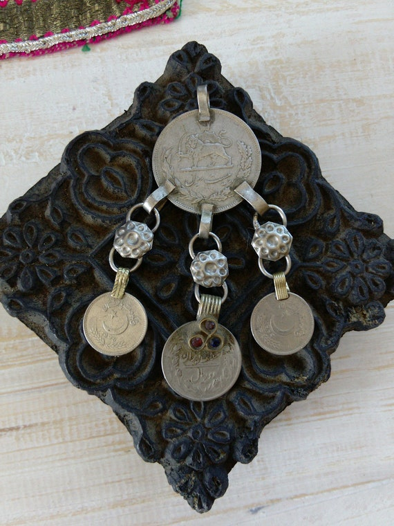 """Vintage Tribal Coin Pendant 3.25"""" DIY Jewelry Supplies (#6475)"""