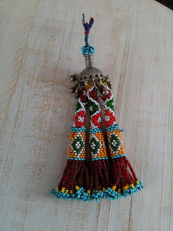 """7"""" Beaded Tribal Tassel from Baluchistan Evil Eye Design(#7430)"""