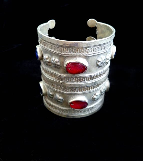 "2.75"" Tall Vintage Turkmen Tribal Bracelet Cuff Ethnic Jewelry 6.25"""